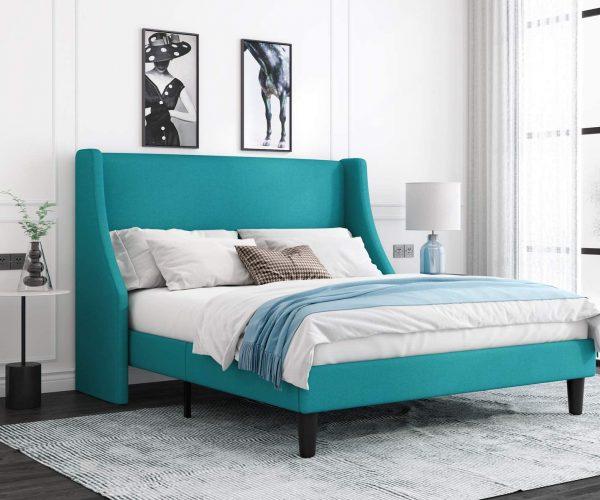 Green Upholstered Queen Bed