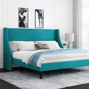 Green Upholstered King Bed