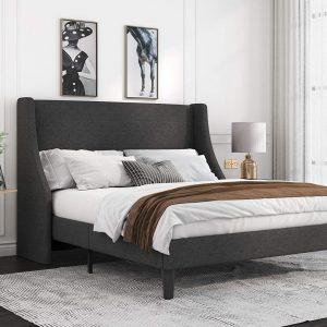 Dark Grey Upholstered Queen Bed
