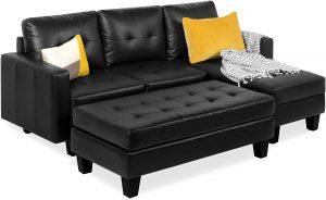 Faux Leather Black Sofa