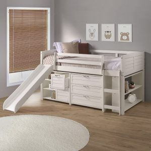 Twin White Loft Bed With Storage