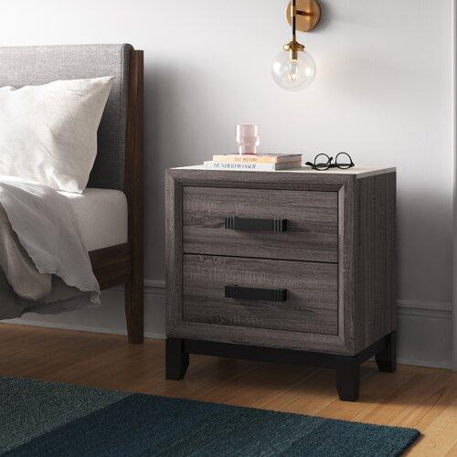 grey wood nightstand