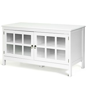 White TV Stand With Cabinets