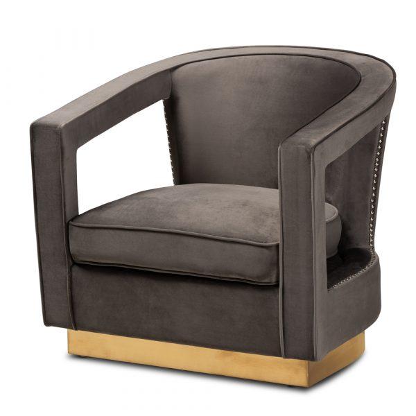 Modern Gray Velvet Accent Chair
