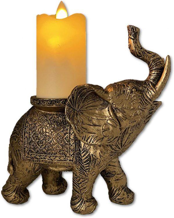 Gold Elephant Candle Holder